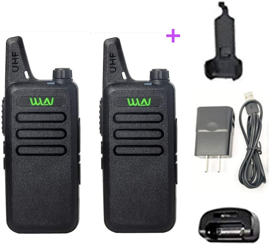 WLN KD-C1 Rechargeable Mini Walkie Talkie, UHF 400-470Mhz Prefessional Two Way Radio with Desktop Charger and Belt Clip for Kids Hiking Hunting Airsoft(1 Pair)
