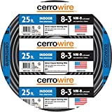 Cerrowire 147-4003A 25-Feet 8/3 NM-B Stranded with Ground Wire, Black