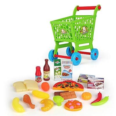 24 Pcs Jeu d'Imitation Caddie Courses Enfant Chariot Supermarché Fruit Légume Pizza Jouet Educatif d'Enfant- Coloré