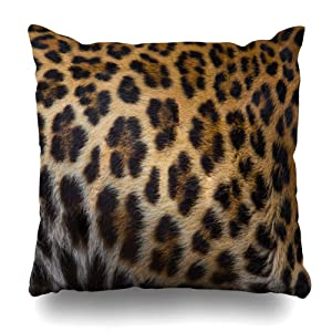 WAYATO Pillow Case Cotton Polyester Blend Throw Pillow Covers Close Up of A Beautiful Leopard Skin Background Bed Home Decor Cushion Cover 18X18 Inch