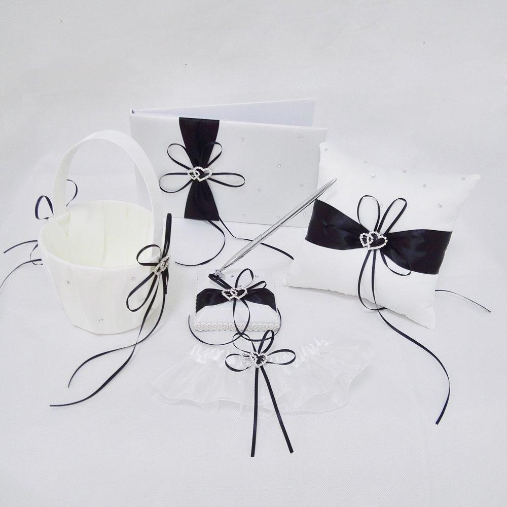 Wedding Flower Girl Basket Rings For Ring Bearer Pillow Garter Guest Book Pen Wedding Set Decoration Ribbon Ceremony Party Favors For Guests (DH Black)