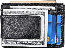 Money Clip Wallet RFID Slim Card Holder Wallet Genuine Leather Strong Magnet (Black)