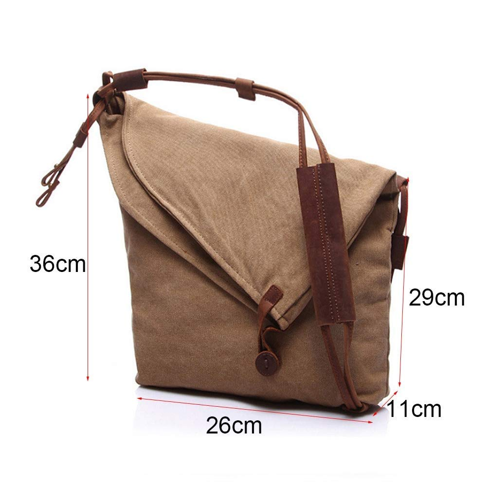 Messenger Bags, Men's Shoulder Bag 14 Inch Vintage Canvas Bag Water Resistant Anti-Theft for College Travel Business,26 11 36cm (Color : Brown)