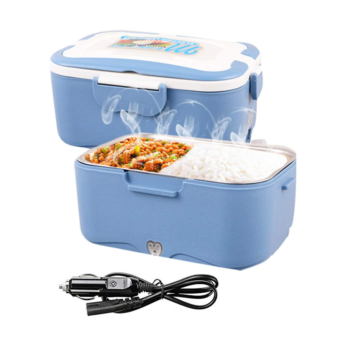AUTOPkio Truck Electric Lunch Box, Lunchbox Electric 24V Food Warmer for Truck Driver 1.5L Portable Heating Meal Container Bento Heater(Blue)