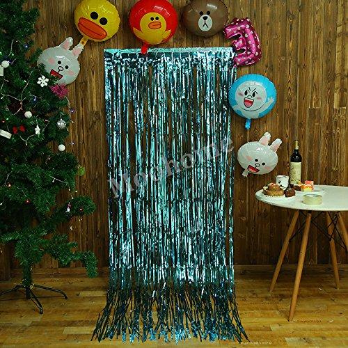 Aqua Shimmer (Moohome Big 3ft x 8ft Aquamarine Tinsel Metallic Foil Fringe Curtains Backdrop Door Window Curtain Party Decoration (2-Pack, Aquamarine))