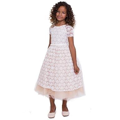 94f830240e1 Petite Adele Big Girls Champagne Ivory Lace Leah Junior Bridesmaid Dress 8