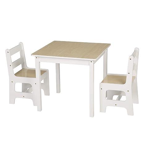 Mobile Soggiorno Tavolo E Sedie.Woltu Sg005 Tavolo E Sedie Per Bambini Soggiorno Tavolino Con 2 Sgabelli Set Mobili In Legno