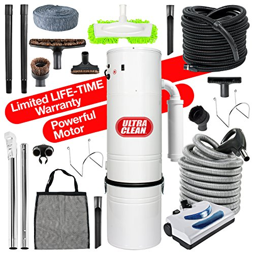 Ultra Clean Top Quality Canadian Made Central Vacuum Unit 7,500 sq. ft. 30′ Electric Hose/Powerhead Attachemnets, Garage Kit & Accessories