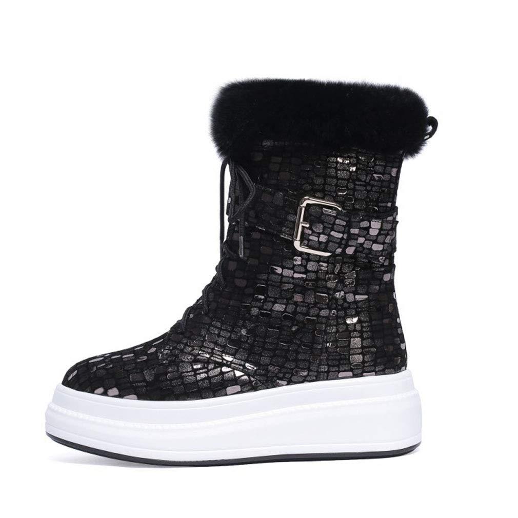 YAN Damenstiefel Winter Leder Schnee Stiefel GürtelschnalleDeck Schuhe Stiefeletten Rutschfeste Plattform Schuh  | Clearance Sale