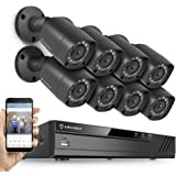 Amcrest Full-HD 1080P 8CH Video Security System w/ Eight 2.0MP (1920TVL) Outdoor IP67 Bullet Cameras, 66ft Night Vision, Hard Drive Not Included, (AMDV10818-8B-B)