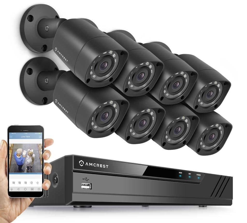 Amcrest Full-HD 1080P 8CH Video Security System w/ Eight 2.0MP (1920TVL) Outdoor IP67 Bullet Cameras, 66ft Night Vision, Hard Drive Not Included, (AMDV10818-8B-B) (Certified Refurbished)