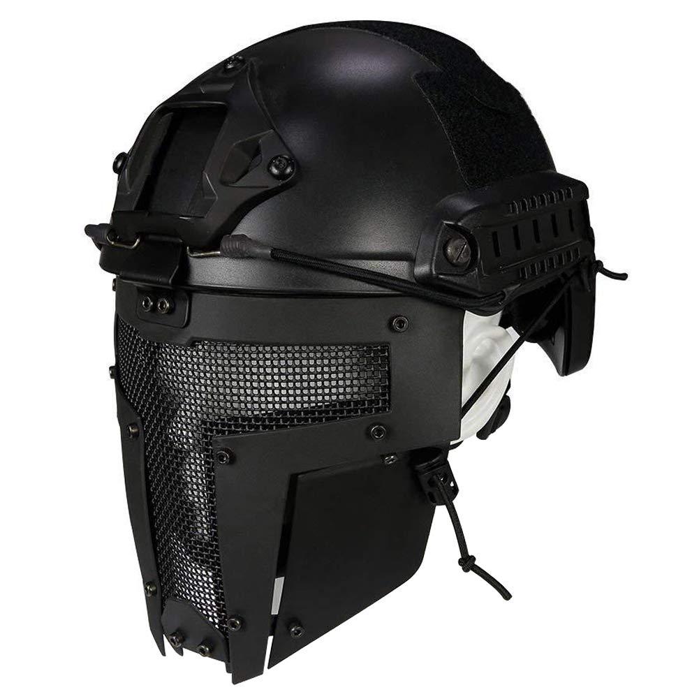 QZY Spartan Diseño Máscara Completa, Casco Rápido Táctico para Airsoft/Paintball / Pistola BB/CS Game/Caza / Disparos (Negro),Mask OOFAA