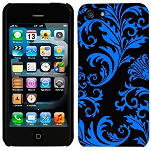 phone covers Apple iPhone 5c & 5c Blue Floral Damask on Black Phone Case Cover