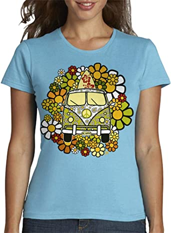 latostadora - Camiseta Be Hippie para Mujer: hello: Amazon.es: Ropa y accesorios