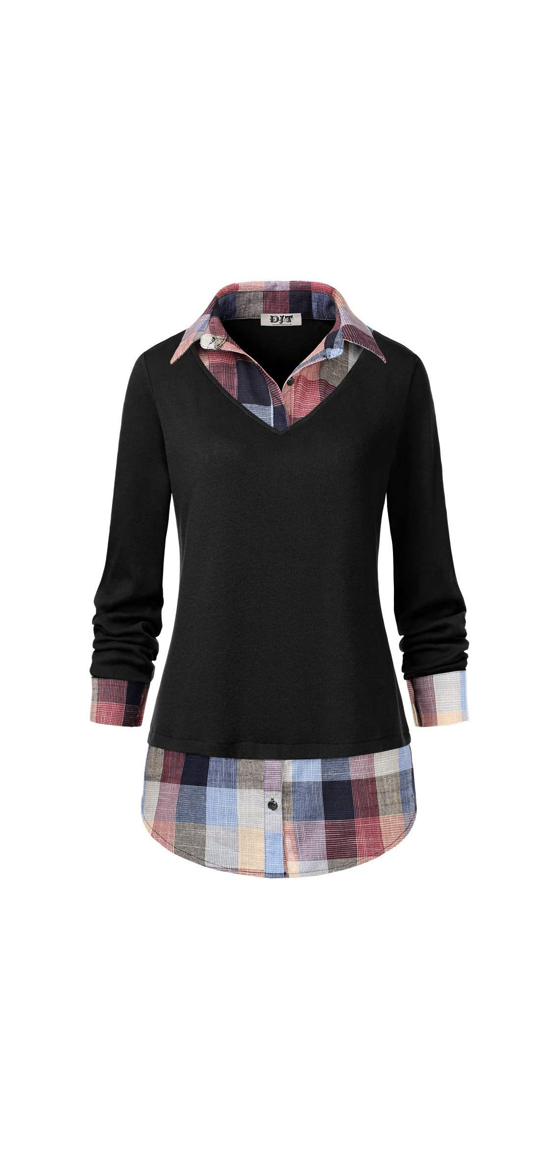 Djt Women's Contrast Plaid Collar  In  Blouse Tunic Tops