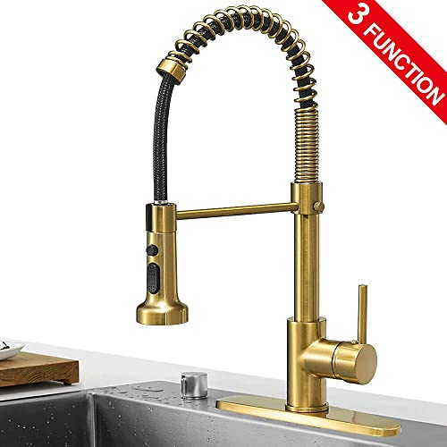 Hoimpro Brushed Gold High Arc Spring Kitchen Faucet with Pull Down Sprayer, Commercial Rv Single Lever Kitchen Sink Faucet ,3 Function Single Handle Laundry Faucet, Brass Brushed Brass 1 or 3 Hole