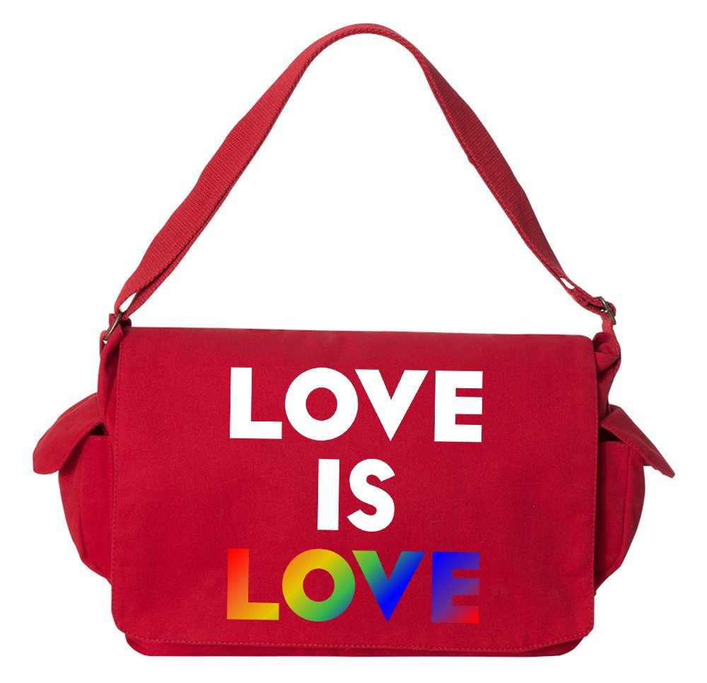 Tenacitee Love is Love Rainbow Red Brushed Canvas Messenger Bag