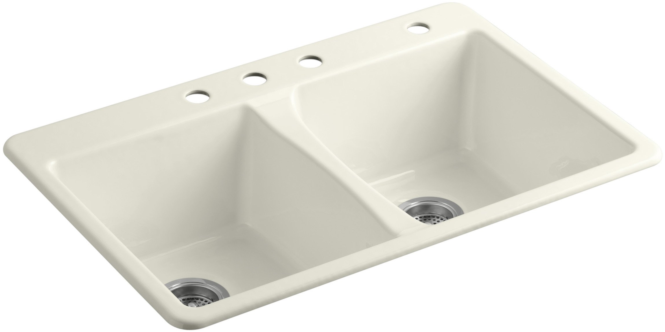 KOHLER K-5873-4-96 Deerfield Double Bowl Top-Mount Kitchen Sink with Four Hole Drillings, Biscuit