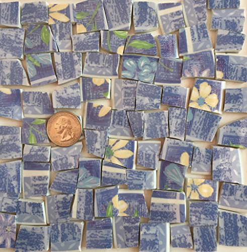 Flower Mosaic Art Tile - Mosaic Art and Craft Supply Blue White and Yellow Flowers Floral T 803