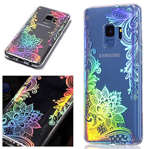 for Samsung Galaxy s7 Edge Case LAPOPNUT Crystal Clear 3D Fancy Glitter Sparkle Bling Holographic Iridescent Cover Laser Beam Thin Soft TPU Protective Clear Case, Lace Flower