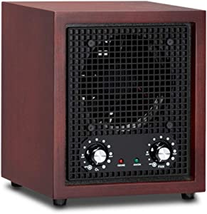 ROVSUN Ozone Generator Air Purifier, Portable Ionizer & Deodorizer for Home Car Use, Purifies Up to 3,500 Sq/Ft Room, for Removal of Odor/Dust/Smoke/Pollen, Cherry with Ceramic Plate