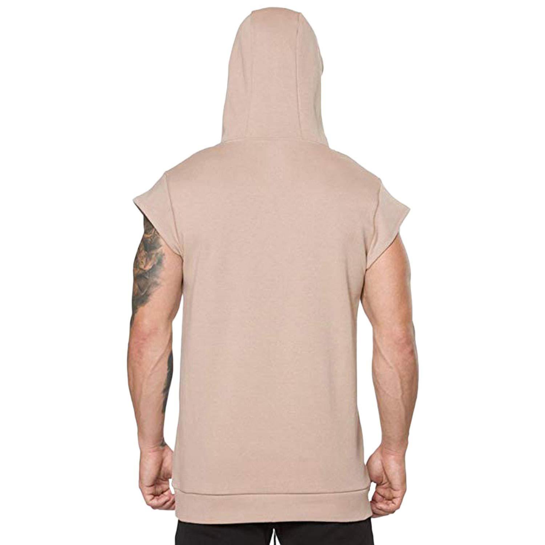 Fashion Tank Top Mens Summer Casual Hooded Pocket Short Sleeve Sport Top Vest