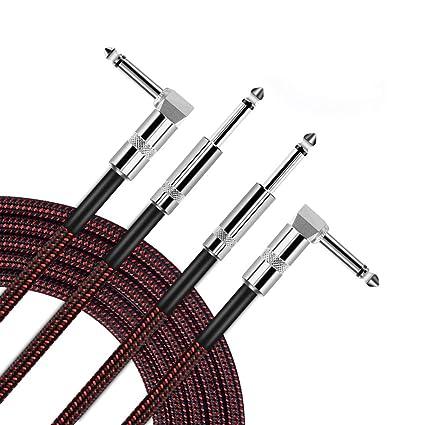 OTraki Profesional Instrumento Cable para Guitarra Bass Teclado 2 TUnidades