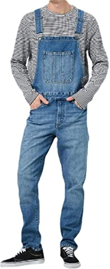 maweisong メンズ オーバーオール ビブ ジャンプスーツ ジーンズ デニム トラウザーズ パンツ ポケット付き