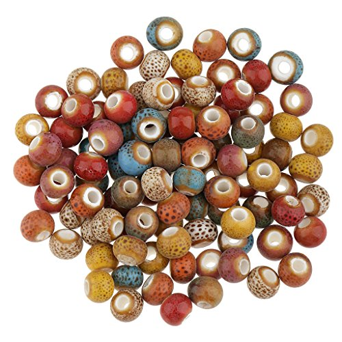 Porcelain Beads Round (MonkeyJack 100 Pieces Vintage Loose Ceramic Porcelain Beads Charms for Jewelry Making 6mm)