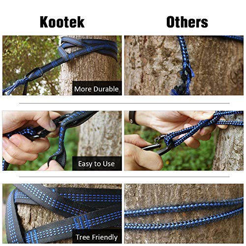 Kootek Camping Hammock Portable Indoor Outdoor Tree Hammock with 2 Hanging Straps, Lightweight Nylon Parachute Hammocks for Backpacking, Travel, Beach, Backyard, Hiking (Grey/Orange)