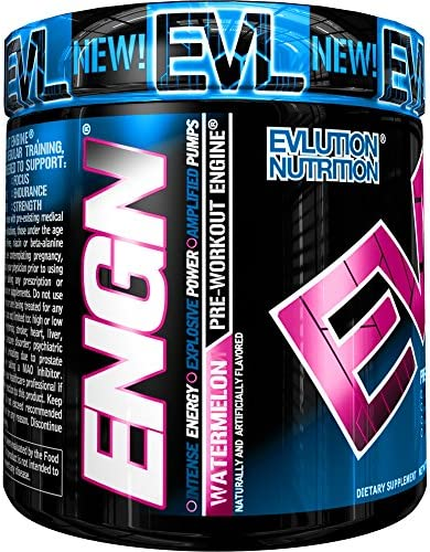 Evlution Nutrition ENGN Pre-Workout, Pikatropin-Free, 30 Servings, Intense Pre-Workout Powder for Increased Energy, Power, and Focus Watermelon