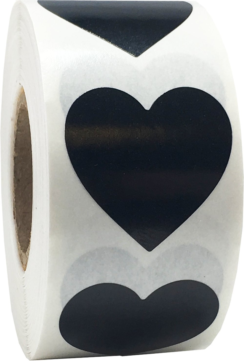 Black Heart Stickers, 1 Inch in Size, 500 Labels on a Roll