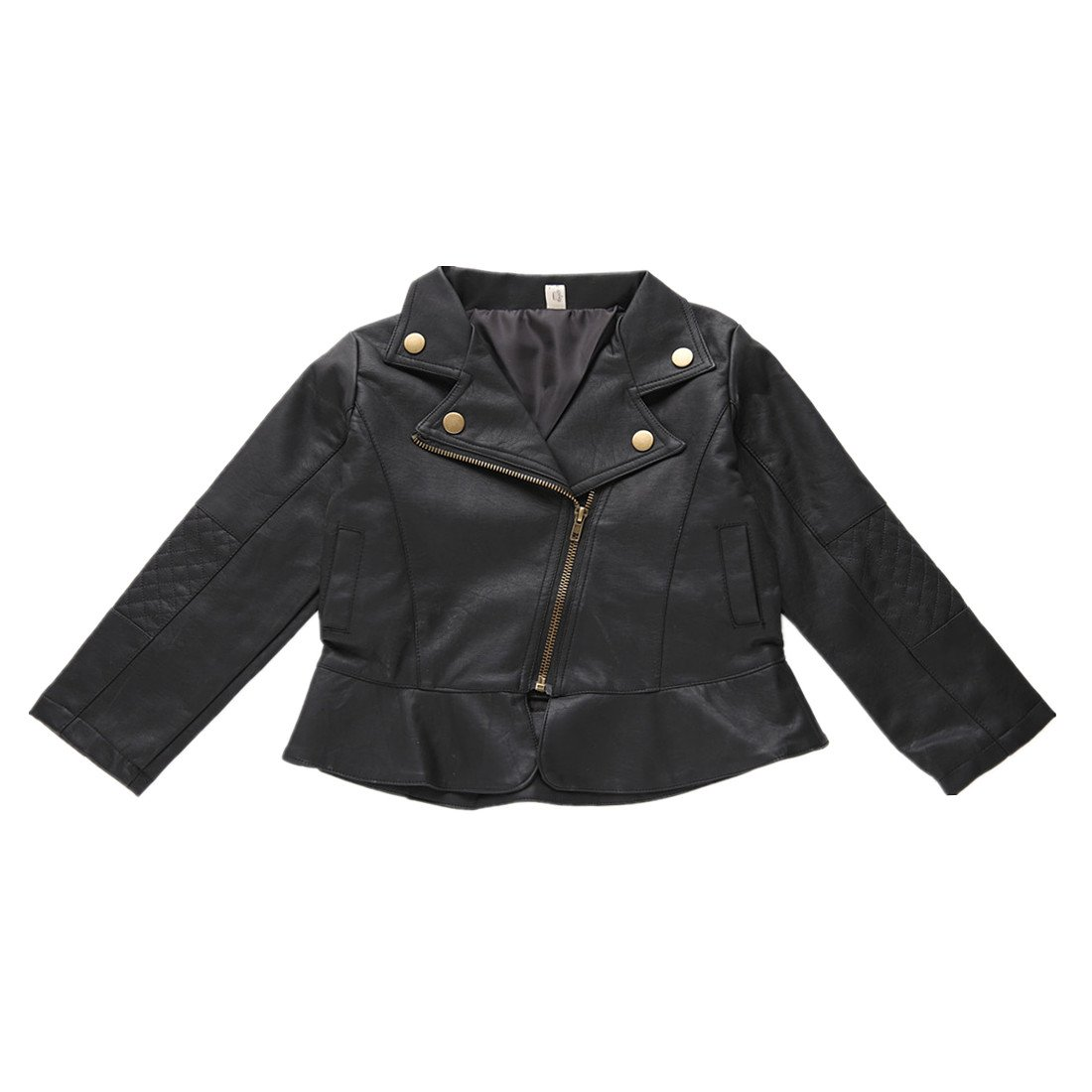 Winzik Baby Boys Girls Kids Outfits Spring Autumn PU Faux Leather Lapel Jacket Oblique Zipper Outerwear Coat (12-18 Months/5, Girls)