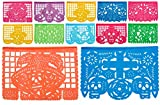 Day of the Dead Medium Plastic Papel Picado Dia De Los Muertos - 12 Medium Plastic Panels, Over 16 Feet Long Hanging - Designs and Colors as Pictured by Paper Full of Wishes