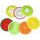 Fruit Slice Silicone Coaster, Unique&Eye Catching,Especially Design for Your Bar,Kitchen and Patio, Set of 7