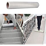 100m x 60cm Clear Carpet Floor Protector Film Self Adhesive Carpet Floor Stairs Protection Sheet Cover Film Roll Protecting Water Resistant Dust
