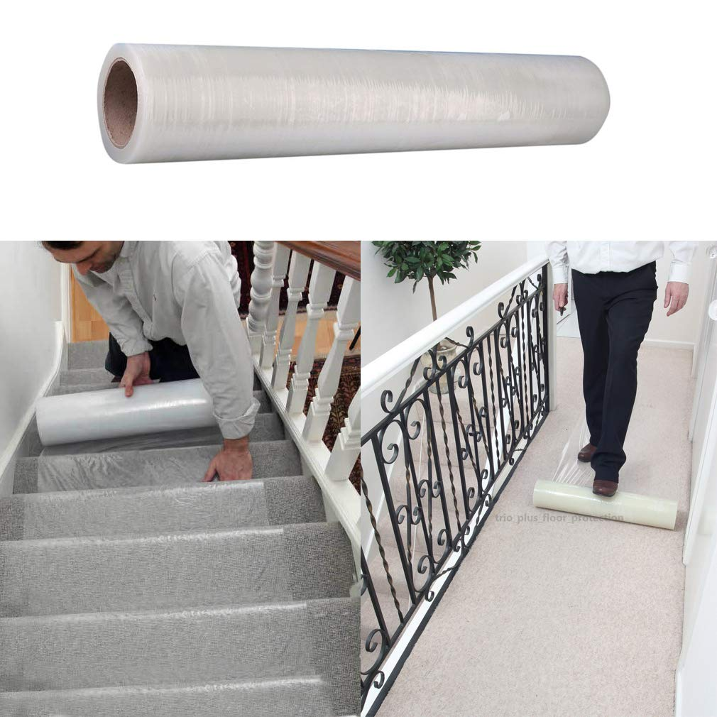 100m x 60cm Clear Carpet Floor Protector Film Self Adhesive Carpet Floor Stairs Protection Sheet Cover Film Roll Protecting Water Resistant Dust TataYang