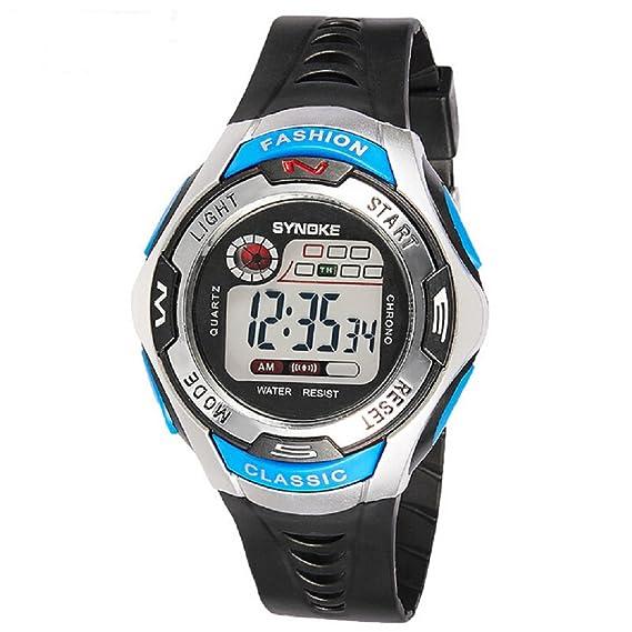 Reloj digital LED de estilo deportivo para niños, de color azul, sumergible hasta 48,7 metros: Amazon.es: Relojes