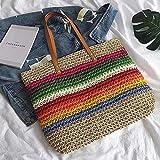 Straw Bag Women's Rainbow Tote Bag Ladies Large Capacity Vintage Straw Beach Woven Colorful Tote Wheat Handbags Shoulder Bag