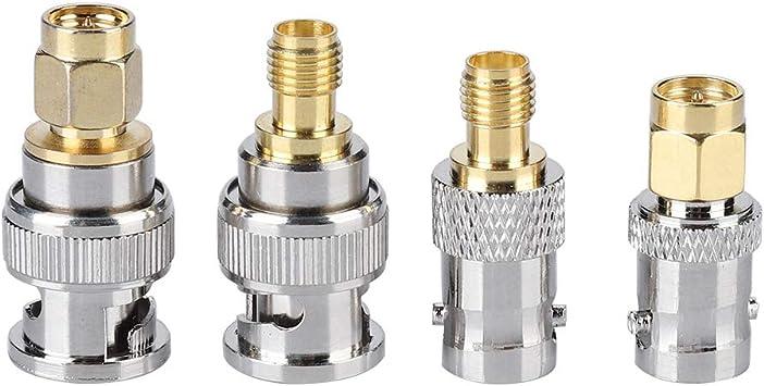 Adaptador hembra de enchufe coaxial, conector de antena coaxial de 4 piezas Conector BNC macho/hembra a SMA macho/hembra, antenas, dispositivos de LAN ...