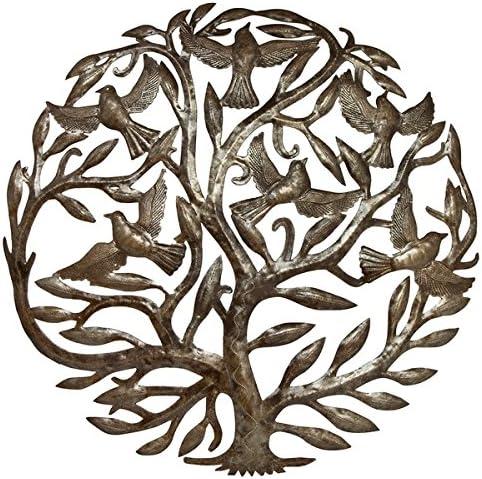 "15/"" Metal Haitian Tree of Life with Birds Haitian Metal Drum Art Metal Wall Art"