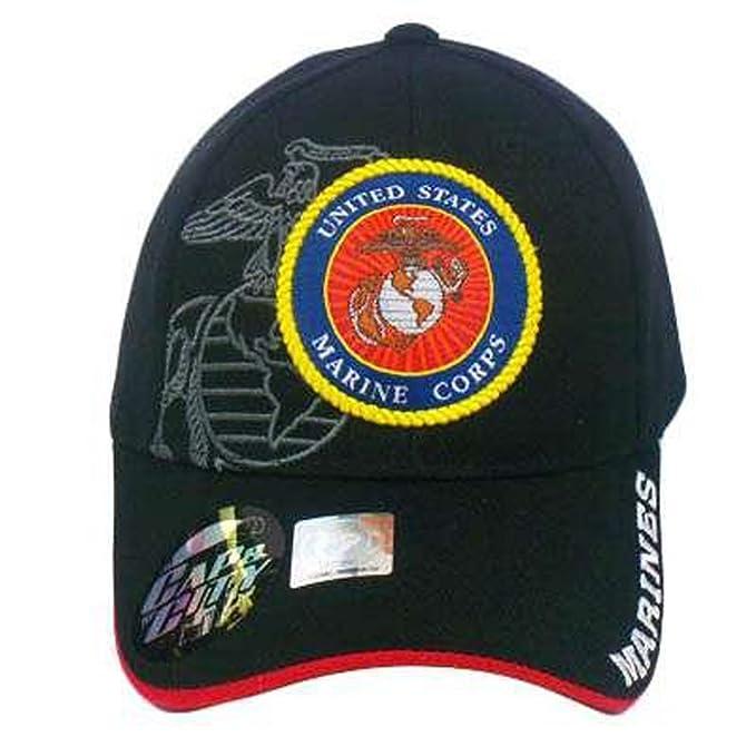 Amazon com: US MARINES MARINE CORPS USMC SEAL LICENSED BLK HAT CAP
