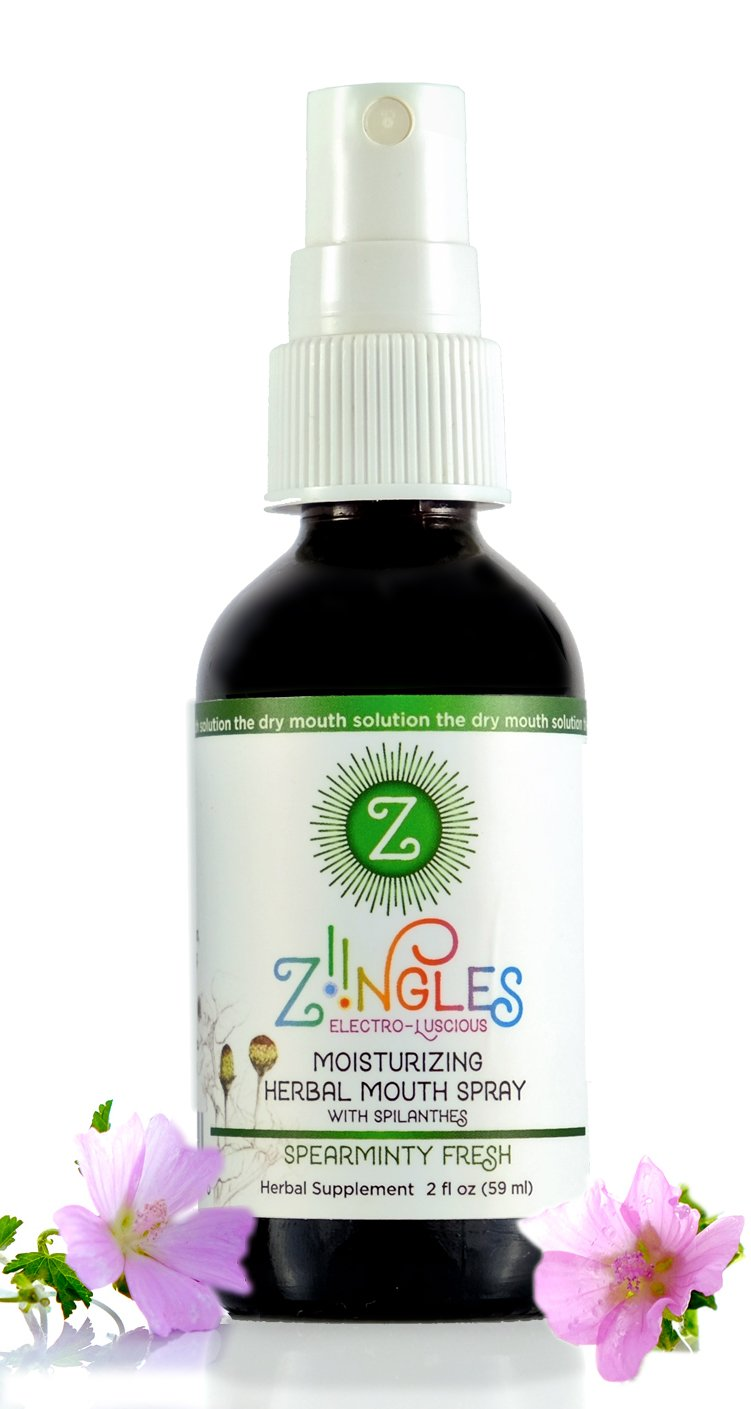 Ziingles Dry Mouth Spray Botanical Mouth Moisturizer Natural Canker Sore Relief Spearmint Flavor 2 fl oz (59ml)