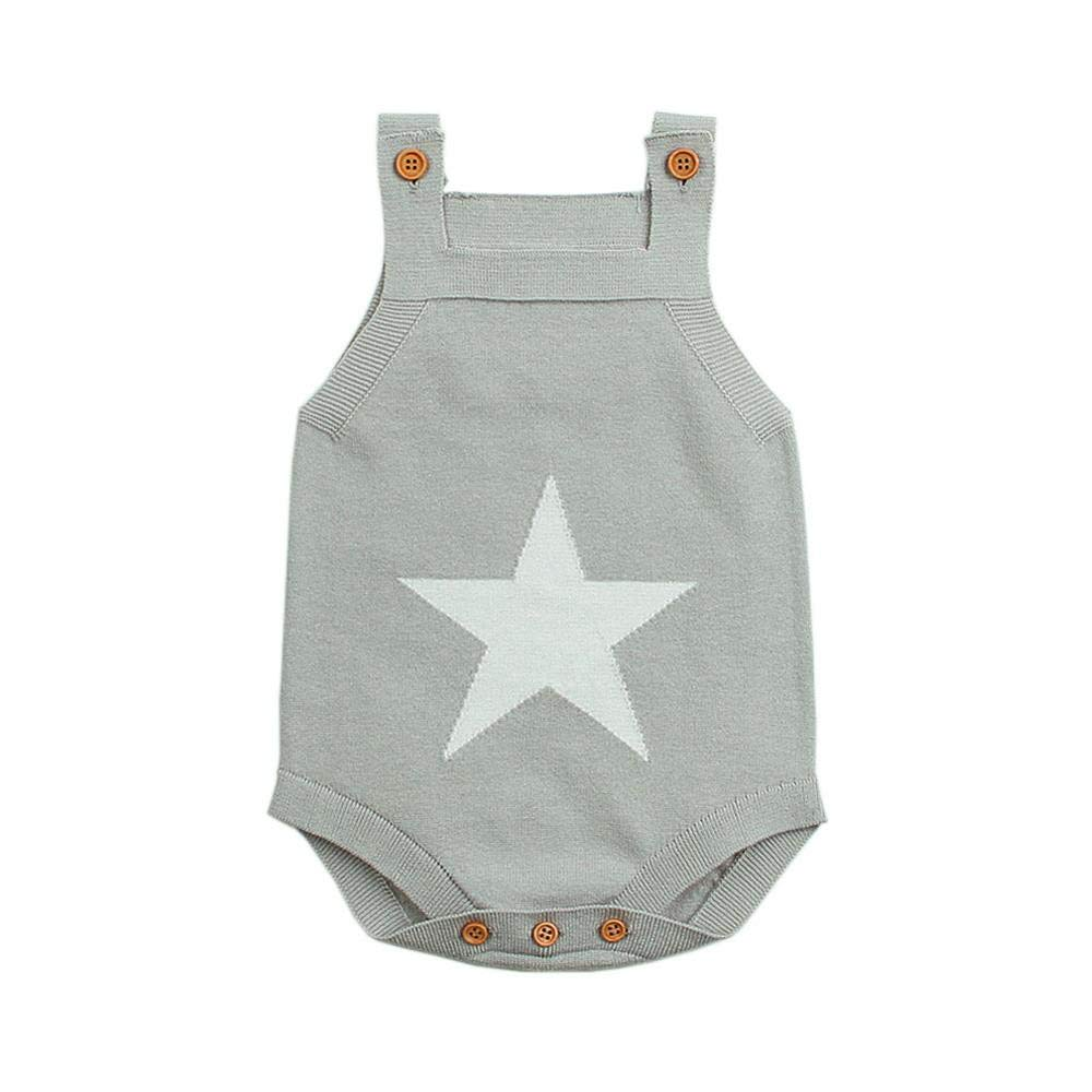 Clothing SaranTung Summer Sleeveless Bodysuits for Boys White Star Knit Newborn Baby Girls Coveralls Grey Bodysuits