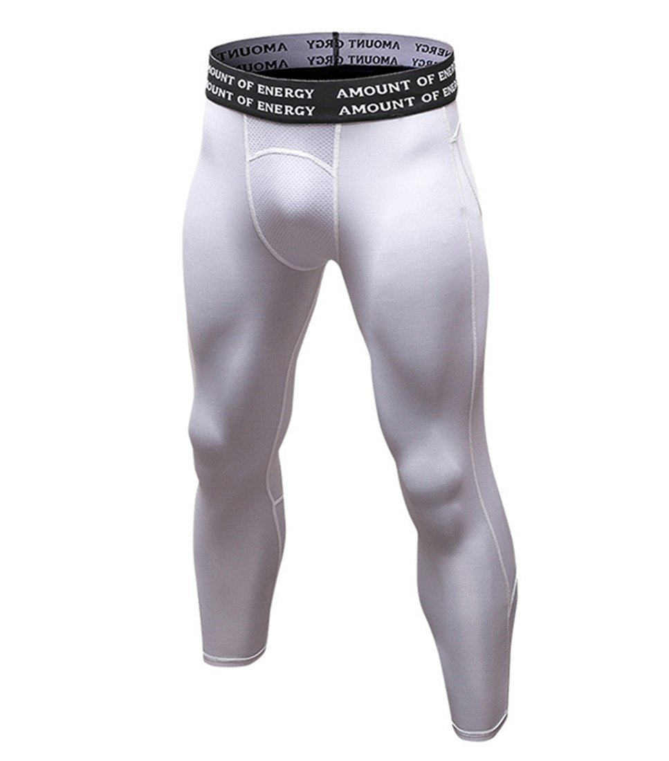 Sanke Mens Athletic Capri Legging Cool Dry Compression Running Tights 3/4Pants White