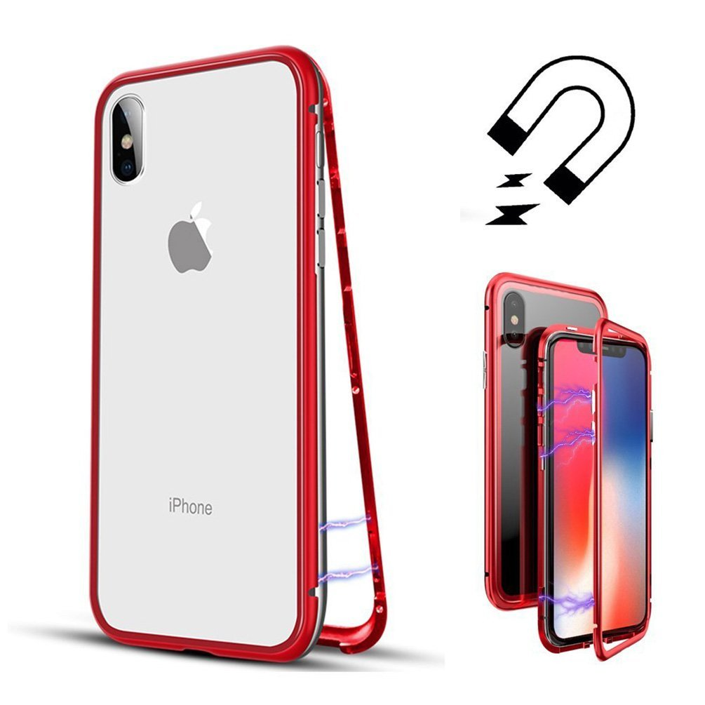Funda iPhone Xr Transparente y Borde Rojo, Coolllee Funda Resistente 9H VidrioTemplado 360 Con Bordes Full Cover Dura Ultra Slim Protective de Adsorción Magnética Súper Delgada Marco de Metal de con Cubierta Magnética Incorporada Case para Apple iPhone Xr,