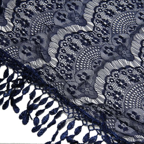 Scarfand's Lace Infinity Scarf with Fringe (Navy)