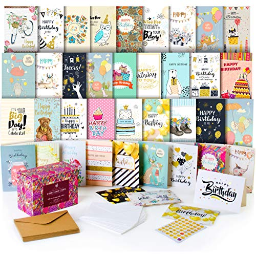 Happy Birthday Cards Assortment - Bday Cards in Bulk - 5x7 Assorted Variety Box Set 40 Pack Unique Designs with Envelopes - Blank Birthday Card for Men Women Kids - for Office Home ()