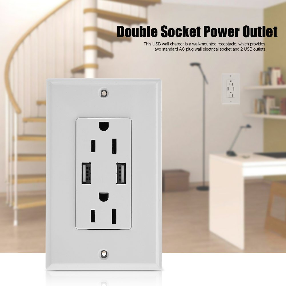 NCONCO Double Outlet Power Supply Socket Strip Receptacle with DC 5V 2.4A Dual USB Wall Charger