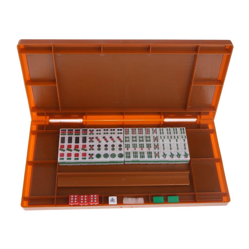 LyGuy Portable Mini 144 Mahjong Set Mah Jong Table Traditional Game Travel Foldable Mahjong Set Gift For Kids